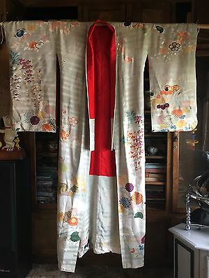 Vintage Pre 1960's 100% Hand Sown Silk Kimono Japanese One Of A Kind