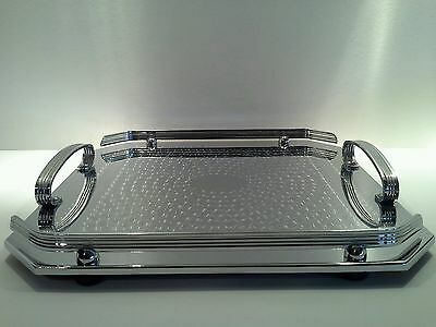 Vintage Ranleigh Stainless Steel Drinks Serving Tray with Wooden Backing.