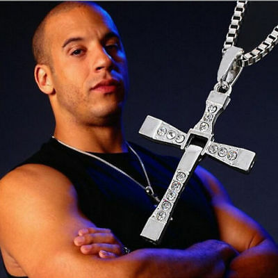 "Hot THE FAST and The FURIOUS Dominic Toretto's CROSS PENDANT 26"" Chain Necklace"