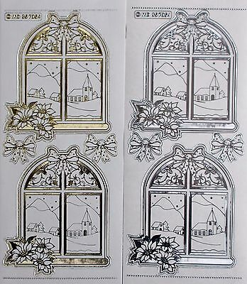 Double Embossed on Clear CHRISTMAS Window Church Poinsettia PEEL OFF STICKERS