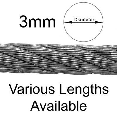 3mm 7x7 Galvanised Steel Wire Rope Cable 630kgs MBL Catenary Overhead Sign