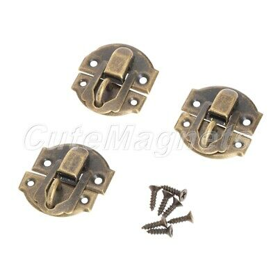 12Pcs Brass Hasp Latch Lock With Screws for Jewelry Wood Box Décoration Antique