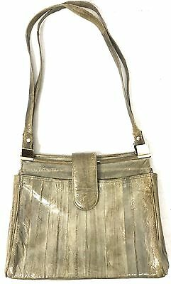 VINTAGE Mid century GREY EEL LEATHER double strap HANDBAG shoulder BAG