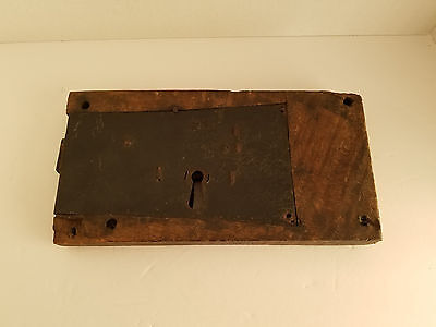 Primitive Antique Large Oak and Iron Door Lock Hand Forged