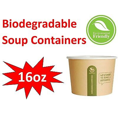 Compostable Takeaway Paper Food Soup Noodle Bowl Biodegradable Containers 16oz