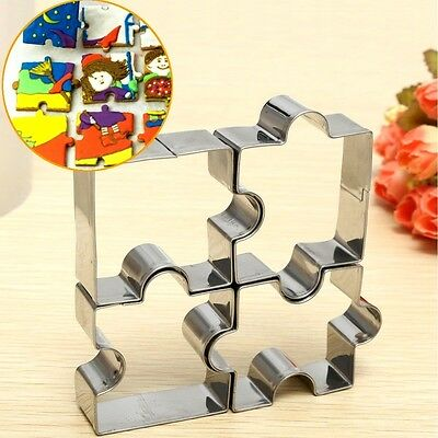 4pcs Jigsaw Puzzle Cookie Cutters Fondant Mould Decorating Icing metal....new