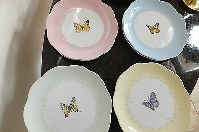 LENOX BUTTERFLY MEADOW DESSERT SALAD PLATES. Set of 8 with Scalloped Edge