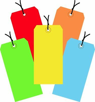 """Aviditi G20002 Assorted Color 13 Point Shipping Tags Pre-Strung, 4 3/4"""" x 2 3/8"""""""