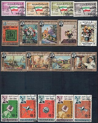 SOUTH ARABIA - Mixed Lot of 26 Stamps Plus Sheet & M/Sheet most CTO, 3 Scans