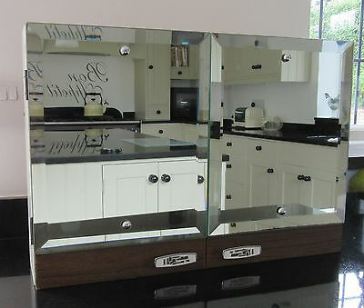 Vintage 60s/70s Bathroom Cabinet - Bevelled Mirror Doors & Funky Chrome Handles