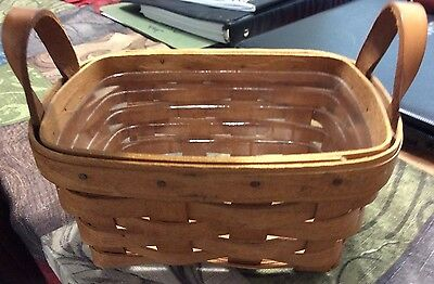 LONGABERGER Vintage 1993 SMALL WOOD BASKET W/Leather Handles/VGVC