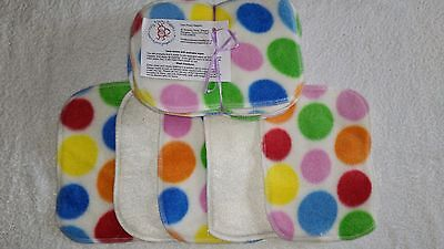 Colour Spot! Bamboo & Fleece washable baby wipes pk10 NEW washable nappy wipes