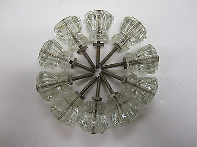 Vtg Lot of 10 Clear Glass Drawer Pulls Silver Tone Hardware Included Decor