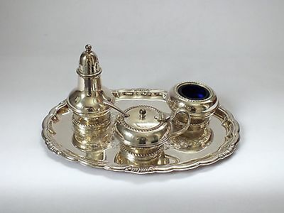 Silver plated On Copper cruet set with colbalt blue glass liners, tray & spoon