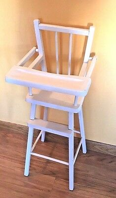 Vintage Doll High Chair White Wood Very Good Condition