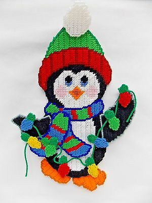 Penguin Ready for Xmas With Lights, Hat, Scarf Handmade Plastic Canvas 16x11 In