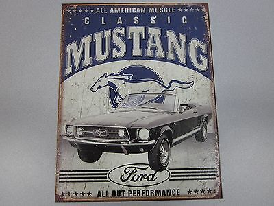 Classic Ford Mustang Sign 16 x 12.50 Metal Ford Retro Auto Made in USA