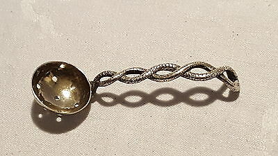 Silver plate vintage Victorian antique rope twist sugar sifter spoon