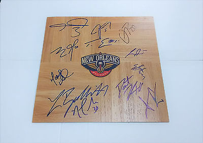 NEW ORLEANS PELICANS Basketball Team SIGNED 12x12 Floor