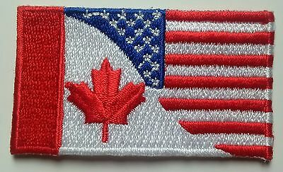 Canada United States Friendship Flag Patch Embroidered Iron On Applique USA