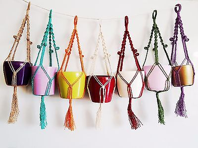 Handcrafted Macrame Plant Hangers for smaller spaces. Birthday gifts.