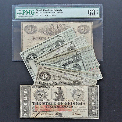 8 - Piece Obsolete Currency Lot - 6 Baby Bonds - Georgia - Raleigh <<