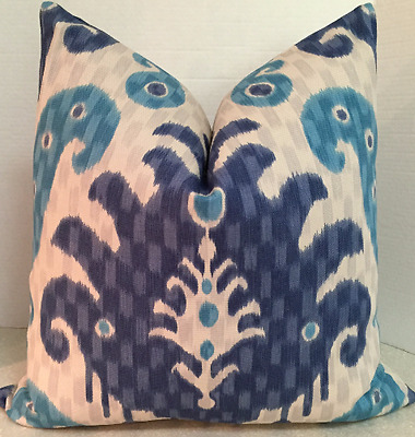 40 X 40 40 Inch Pillow Cover Blue Turquoise Gray Damask Ikat Bold Enchanting 20 X 20 Inch Pillow Covers