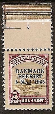Greenland 1945 Liberation 5 Ore Ovpt Mnh