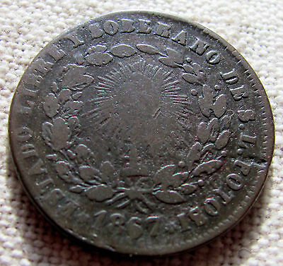 1867 Quartilla (1/4 de Real) San Luis Potosi 28mm Copper Coin
