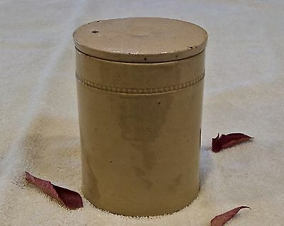 Vintage French Glazed Earthenware Cornichons / Spice Pot with Lid/Cover