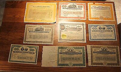 Antique Stock Certificates Lot of 9 Mixed 1914-1959