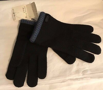 COACH Authentic Wool GLOVES Black/Blue Color Block Boys Sz XS/S Texting  NWT
