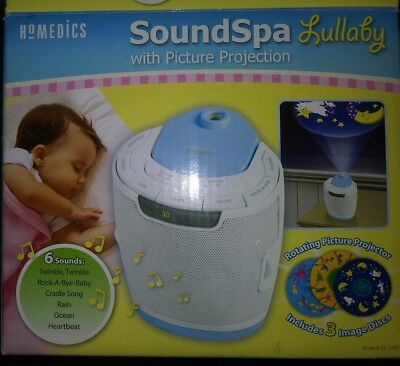 Homedics Sound Spa Lullaby Baby Sound Machine SS-3000 Projector w/ 3 Disks