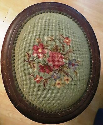 Antique VICTORIAN Footstool Rest Needlepoint Top Floral Design Foot stool