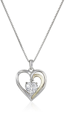 Sterling Silver and 14k Gold Gemstone Heart Pendant Necklace with Diamond Accent