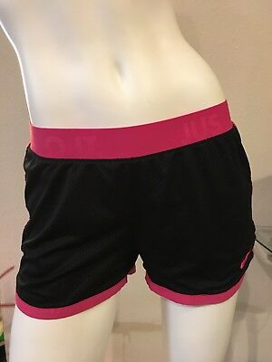 Nike Dri Fit Women's Running Athletic Mesh Shorts Black and Pink Size S