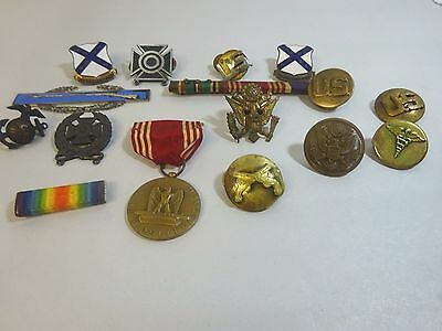 Vintage Estate LOT OF MILITARY BADGES, MEDALS, PINS, BUTTONS,