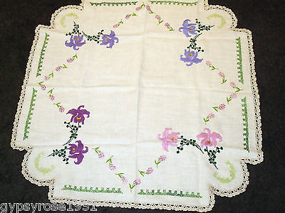 Vintage Hand Embroided Supper Cloth/ Table Topper/Crochet Lace Edging