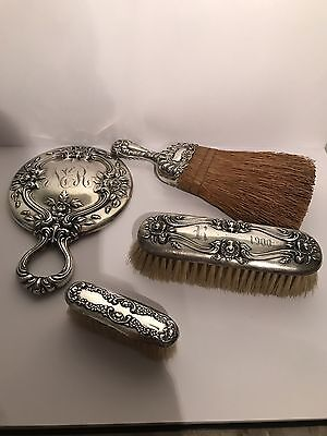 Antique Sterling Silver .925 Grooming Set Brushes Mirror Circa 1900