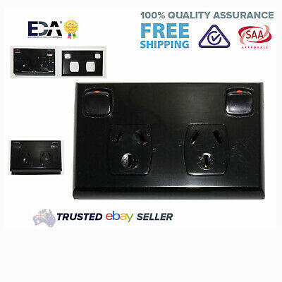Black DGPO Double Twin Electrical Socket Outlet Power Point
