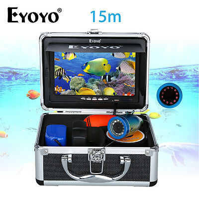"NEW 15m Infrared 7"" Monitor Ice/Sea Fish Finder Underwater Camera+Lights Control"