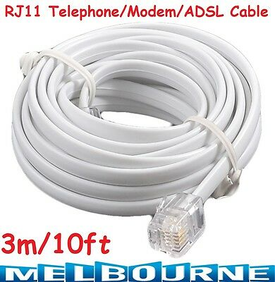 High Speed 3m 10ft RJ11 Telephone Phone ADSL Modem Line Cord Cable Internet Wifi
