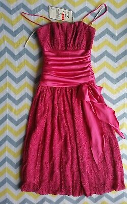 ❤ True Vintage Formal Party Dress NWT Hot Pink Lace absolutely beautiful Size 8