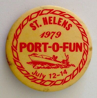 St Helens 1979 Port Of Fun Boating Rare Button Badge Pin Authentic Vintage (N11)