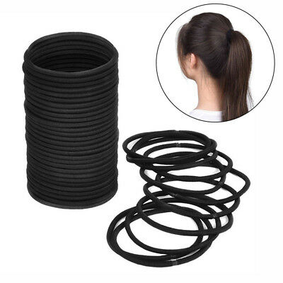 100Pcs Black Thick Endless Hair Elastics Hairbands Ponytail Hair Ties Salable