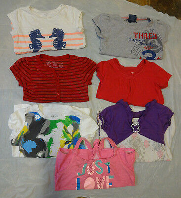 7 Girl's Used Small Summer Shirt Lot  Size 6-6X