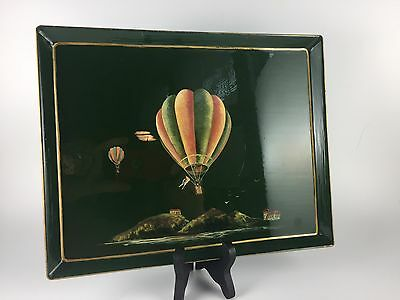 Vintage Handpainted Laquered Tin French Tray w/ Hot Air Baloons & Coastal