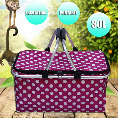 Folding Picnic Basket Portable Zip Bag Hamper Insulated Camping Cooler Outdoor