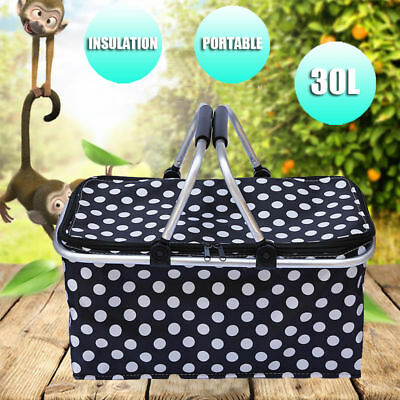 30L Large Outdoor Foldable Thermal Insulated Picnic Storage Zip Basket Bag