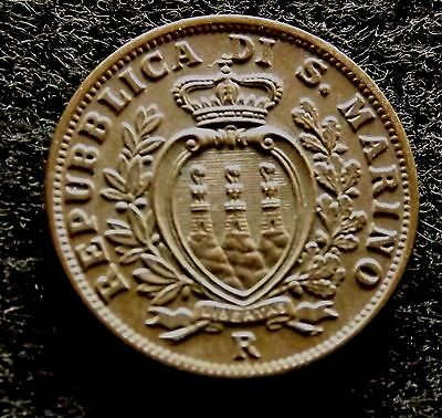 1938 SAN MARINO 5 Centesimi, Nicely Detailed Bronze Coin, KM# 12  (#523)